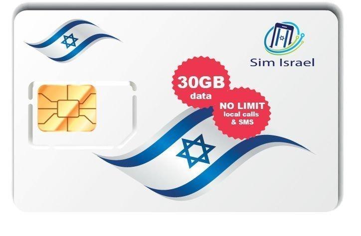 Karta Sim z pakietem 30GB mobilnego internetu 4G w Izraelu - 14 dni ważności pakietu